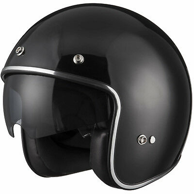 LEO-601 Inner Sun Visor Open Face Motorbike Motorcycle Helmet On Road BLACK M