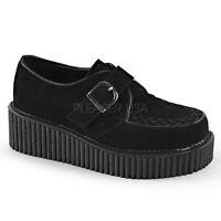 Demonia Creepers 118 Unisex Goth Punk Rockabilly Creeper Black Suede Shoes