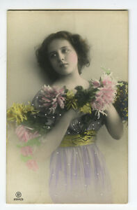 c-1910-Teenager-Teenage-PRETTY-YOUNG-GIRL-tinted-photo-postcard
