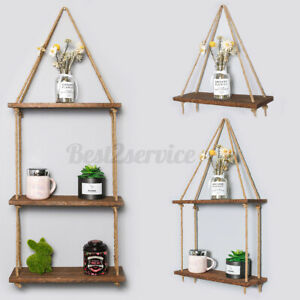 Wooden-Hanging-Rope-Shelf-Wall-Mounted-Floating-Shelf-Storage-Rustic-1-3-Tiers