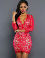 New Elegant Red & Nude Lace Mini Bodycon Dress Club Party Wear Size L UK 12-14