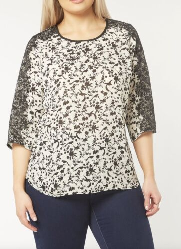 EVANS IVORY BLACK BIRD AND FLOWER PRINT TOP//BLOUSE  SIZES 14 to 28