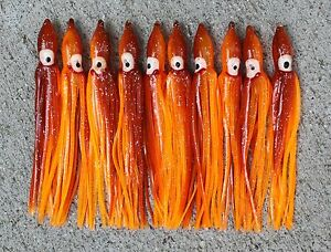 """Lot Of 10 Hoochie Squid Skirts Un Rigged Fishing Lures 4 3//4/"""" Red//White"""