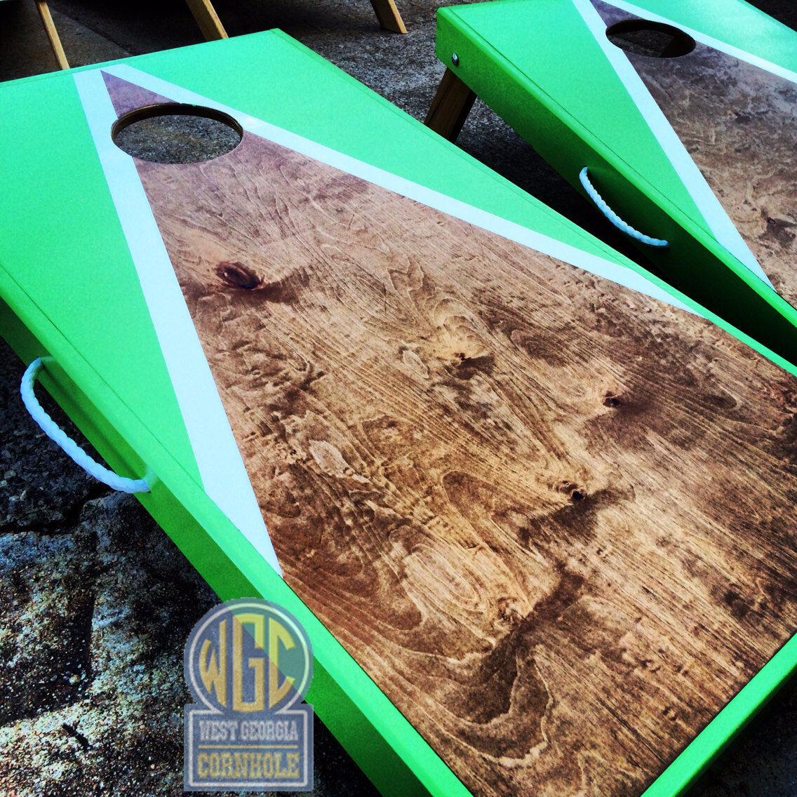 Neon Green Half and Half Triangle Cornhole Board Set   up to 50% off