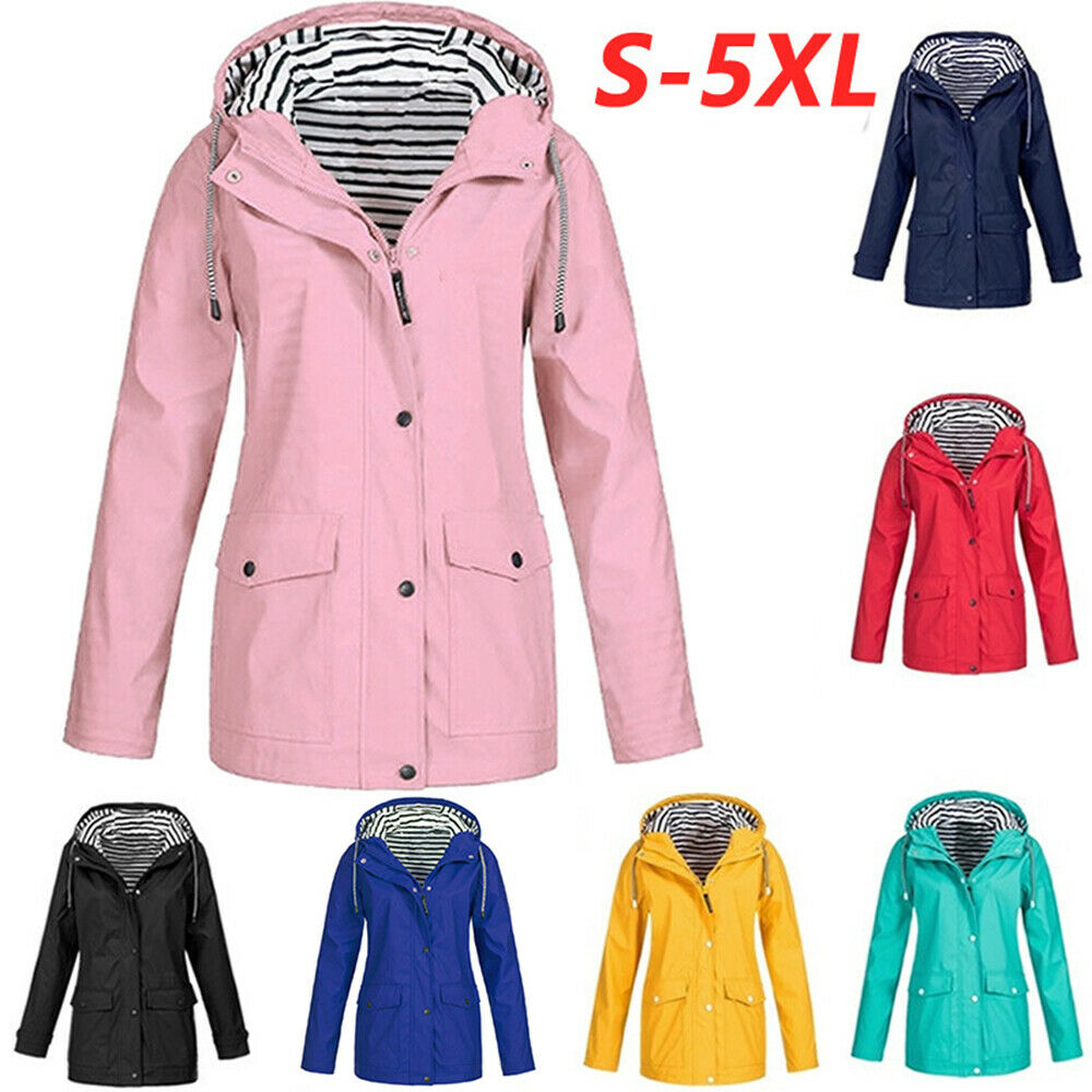 Plus Size Womens Waterproof Outdoor Raincoat Ladies Wind Rain Forest Jacket Coat