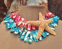 Real Starfish Ocean Pendant Jewelry Mother Of Pearl Lt Blue Coral Pink Necklace