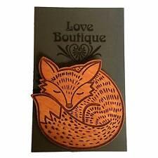 Fox Con Solapa Pin Insignia Broche Regalo De Madera Joyería Love Boutique