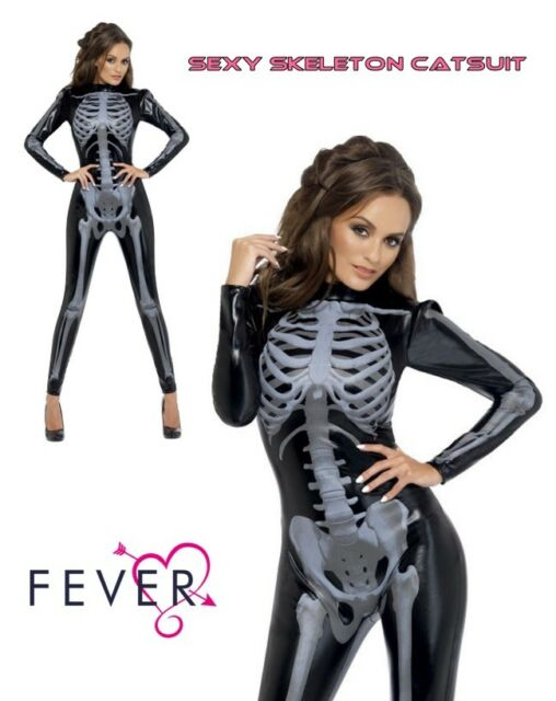Brand New X-ray Fever Skeleton Catsuit Jumpsuit Outfit Adult Costume