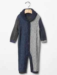 073a2e4c3a8b GAP Baby Boy Size 3-6 Months Blue Gray Shawl Cable Knit One-Piece ...