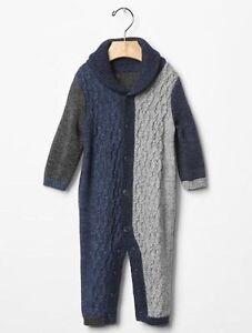 f1f72b7a6ad3 GAP Baby Boy Size 3-6 Months Blue Gray Shawl Cable Knit One-Piece ...
