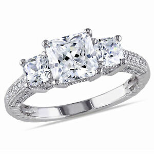 Amour Sterling Silver White Round Cubic Zirconia Engagement Ring
