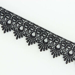 3yds-Black-Fabric-Polyester-Applique-Venise-Lace-Trimming-Sewing-Craft-DIY