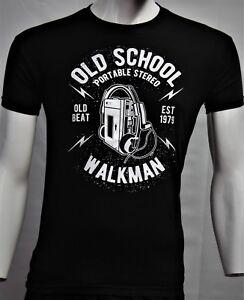 Herren-T-Shirt-mit-Old-School-Print-neue-Farben-schwarz-weis