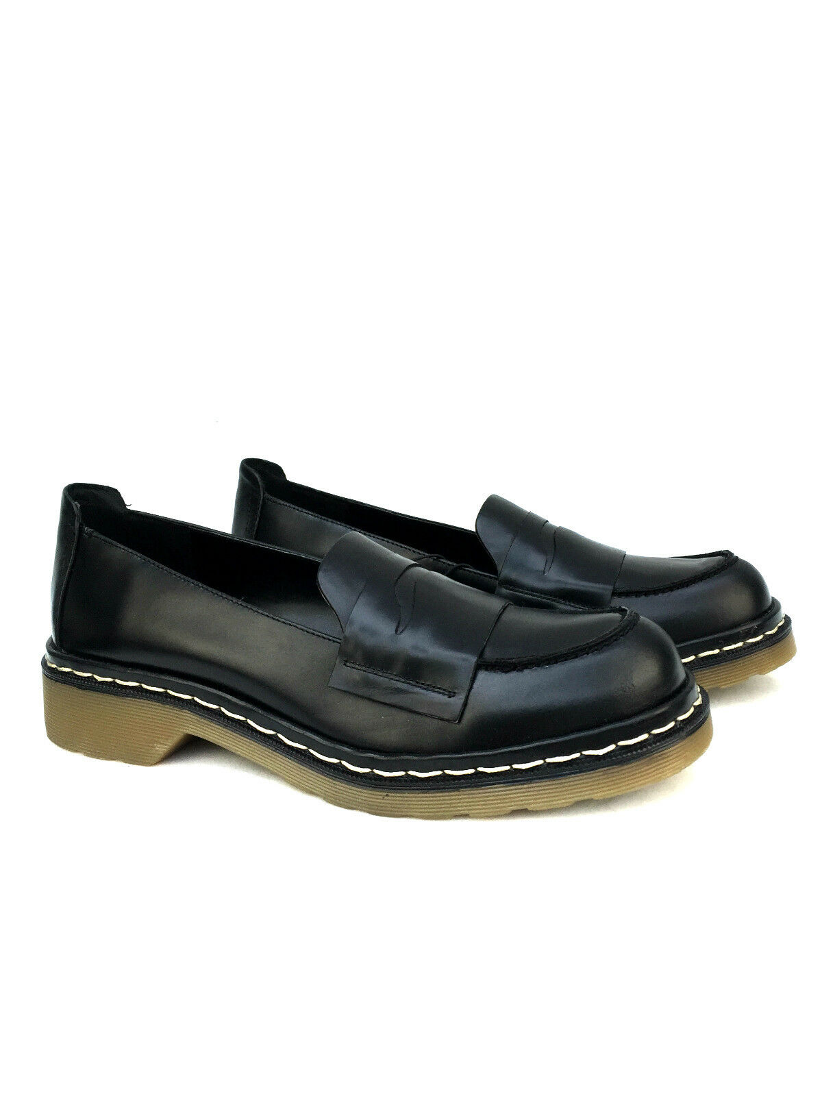 ZARA BLACK LEATHER MOCCASIN SHOES FLATS LOAFERS SIZE 37 39