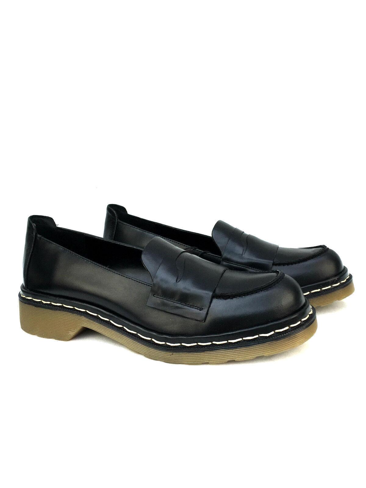Zara schwarzes Leder Mokassins Schuhe flache Slipper Größe 37 39