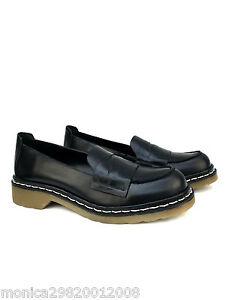 d18cbaa8009731 Zara Cuir Noir Mocassins Mocassins Plats Taille 37 39   eBay