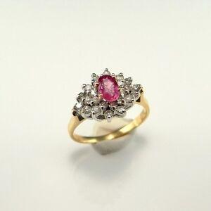 Padparadscha-Peach-Pink-Sapphire-Diamond-14K-Gold-Ring-Engagement-Unheated-1970s