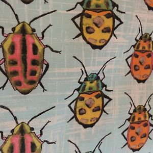 Details about Michael Miller Flutter Bugs Beetle Bugs 100% cotton fabric by  the yard BLUE Skyx