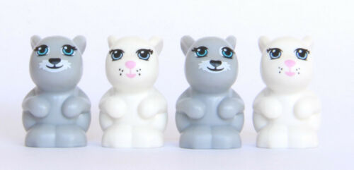 LEGO® Friends Animal Bunny Lot #8-2 White and 2 Gray Bunnies