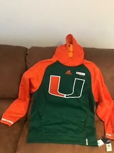 a04fb49b12 Details about Adidas Ncaa MV Player Hoodie Miami Hurricanes University NWT  Size M Men