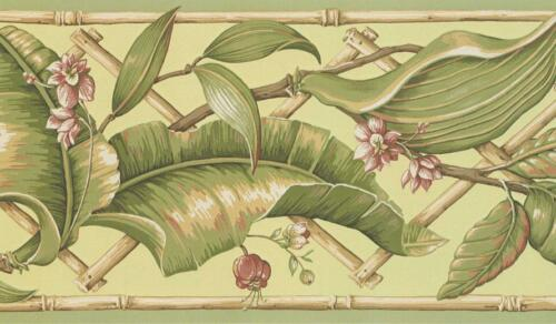 Wallpaper Border Green Palm Leaves with Bamboo Trellis on Green