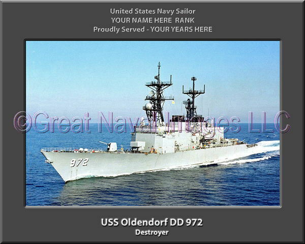 USS Oldendorf DD 672 Personalized Canvas Ship Photo Print Navy Veteran Gift