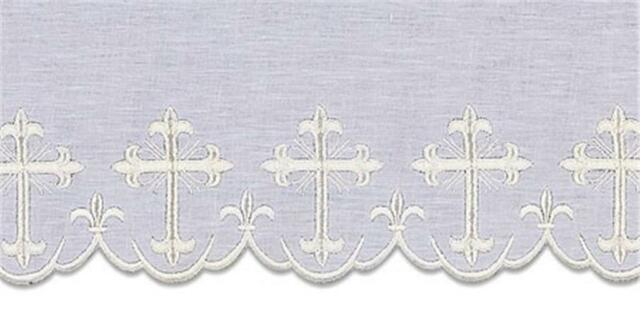 100% Linen Embroidered Altar Cloth White Silk Embroidery Vestment Price per yard