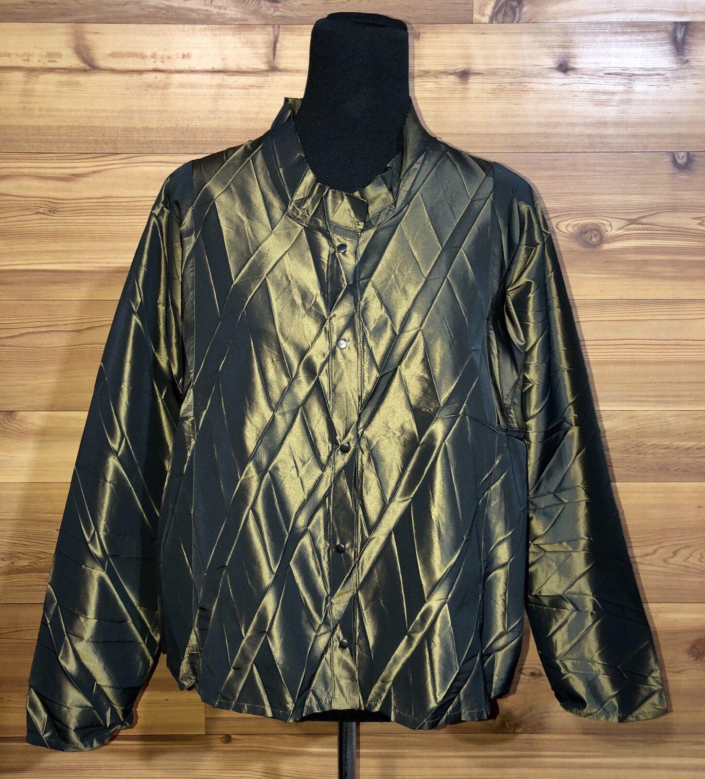 ArTsY Babette SF Stunning Grünish Bronze Pleated Jacket Top S