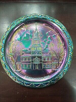 Blue Carnival Glass Plate Independence Hall 8