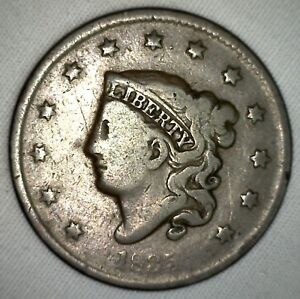 1835 Coronet Large Cent US Copper Type Coin Newcomb Variety N6 Very Good 1c VG