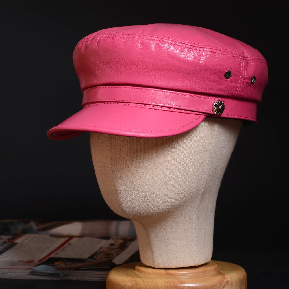 Acheter Pas Cher Femmes Femmes Cuir Véritable Béret Service Casquette Newsboy Bleu Marine/plat/armée Capuchons/chapeaux à Tout Prix