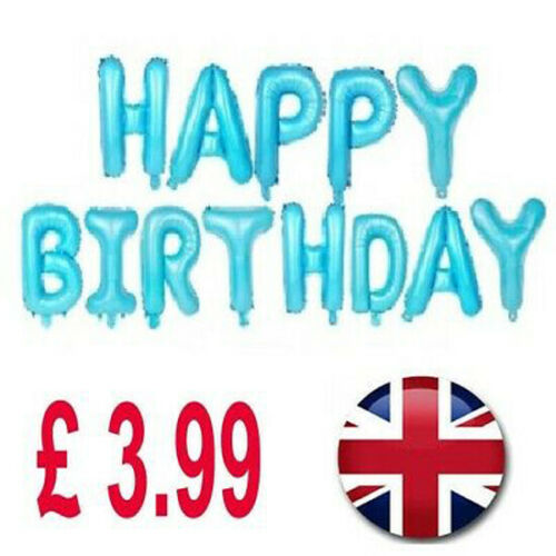 16 inch Letters Foil Self Inflating Happy Birthday Banner Balloon Bunting BLUE