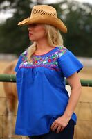 Mexican Blouse Puebla Peasant Embroidered Mexican Blouses Blue / Black