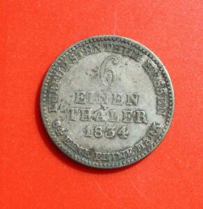 Germany-Altdeutschland-6-EINEN-THALER-1834-Hessen-F-2411-Silber-rar