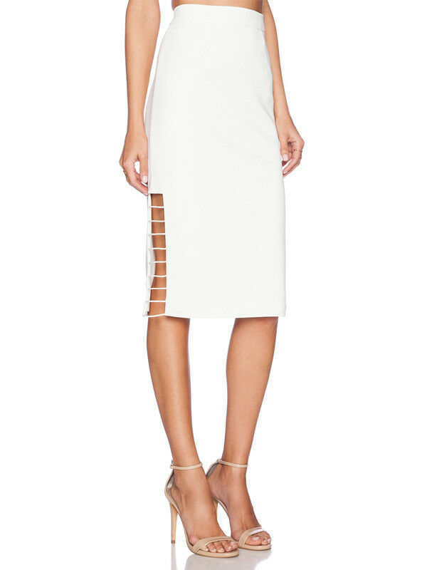 C MEO Collective Ivory Airplane Knee Length Ladder Side Pencil Skirt 8 10