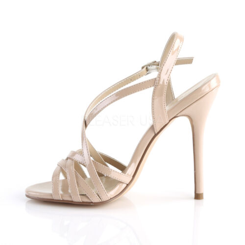 PLEASER AMUSE-13 NUDE PATENT CRISS-CROSS STILETTO HEEL SANDALS SHOES