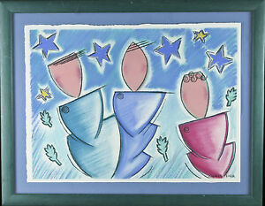 """Untitled (Figures and Stars)  Signed Abstract Pastel Framed 14 1/2""""x18 1/2"""""""