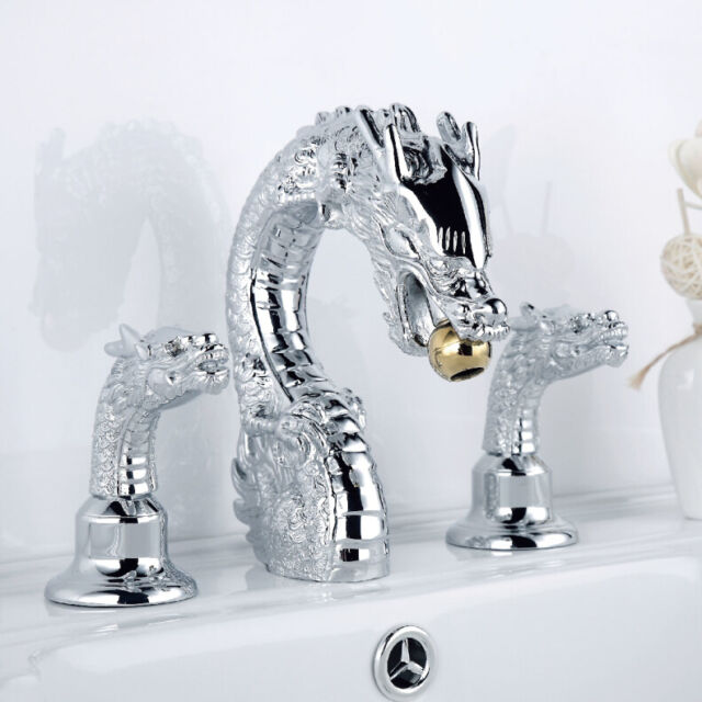 Chrome 3pcs Widespread bathroom dragon lavatory sink Faucet waterfall Mixer tap