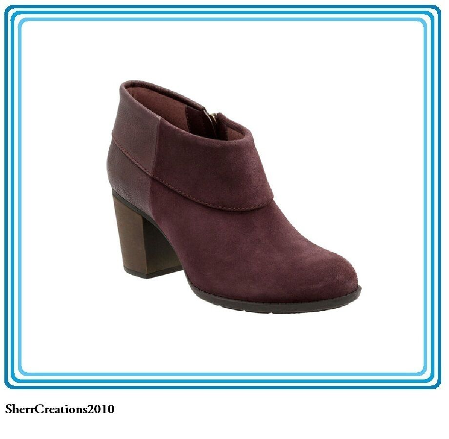 NIB Women's Clarks Enfield Canal Ankle Boot Aubergine Suede Leather /575