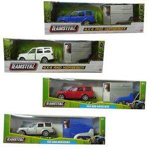 Teamsterz-Land-Rover-4x4-Auto-amp-horsebox-DIE-CAST-BLU-ARGENTO-ROSSO-o-BIANCO