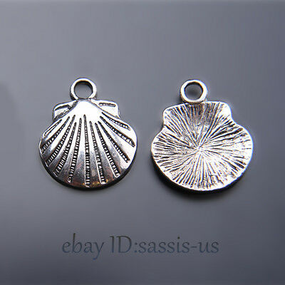 40pcs 17mm Charms Shell Pendant Tibet Silver DIY Jewelry Making Necklace A7433