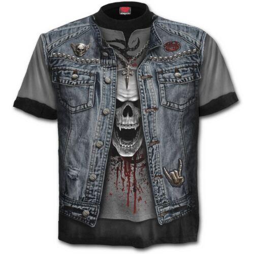 Spiral Direct Thrash Metal Denim Jacket Rocker Black Short Sleeved T-shirt