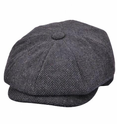 Wool Herringbone Newsboy Cap