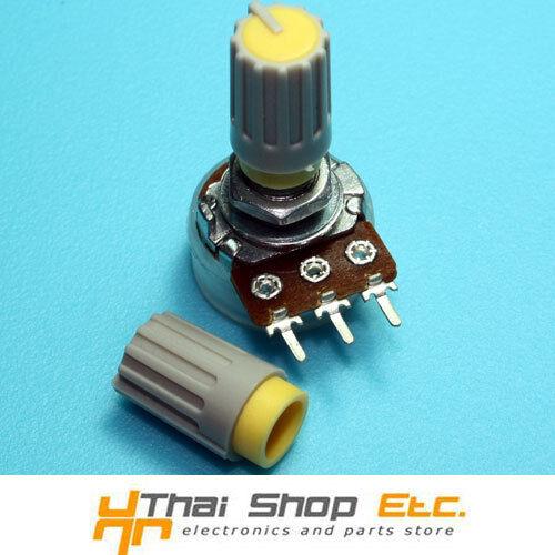 10 x Knob Grey with Yellow Mark for Potentiometer Pot -HJ106- THAISHOPETC