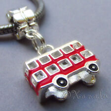 London Red Double Decker Bus European Charm Bead For Large Hole Charm Bracelets