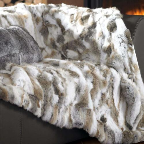 New Echt Kaninchenfell Decke Wohnkultur Teppich Couch Werfen Tagesdecke 62/'/'X55