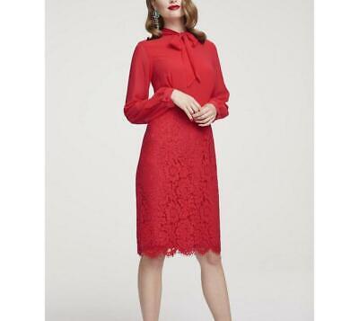 heine damen kleid etuikleid abendkleid knielang langarm spitze rot gr 46 neu  ebay