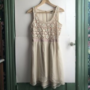 Details About American Eagle Cream Ivory Pink Floral Lace Cutout Sleeveless Tank Dress Small