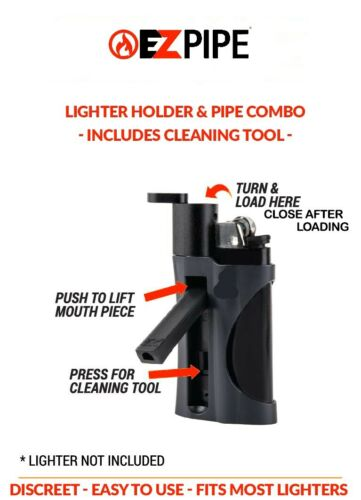 Red EZ Pipe Lighter Holder /& Discreet Tobacco Smoking Pipe Combo