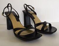 Nine West Shoes Strappy Heels Black Leather Kidskin Size 9M Womens N-Breeze